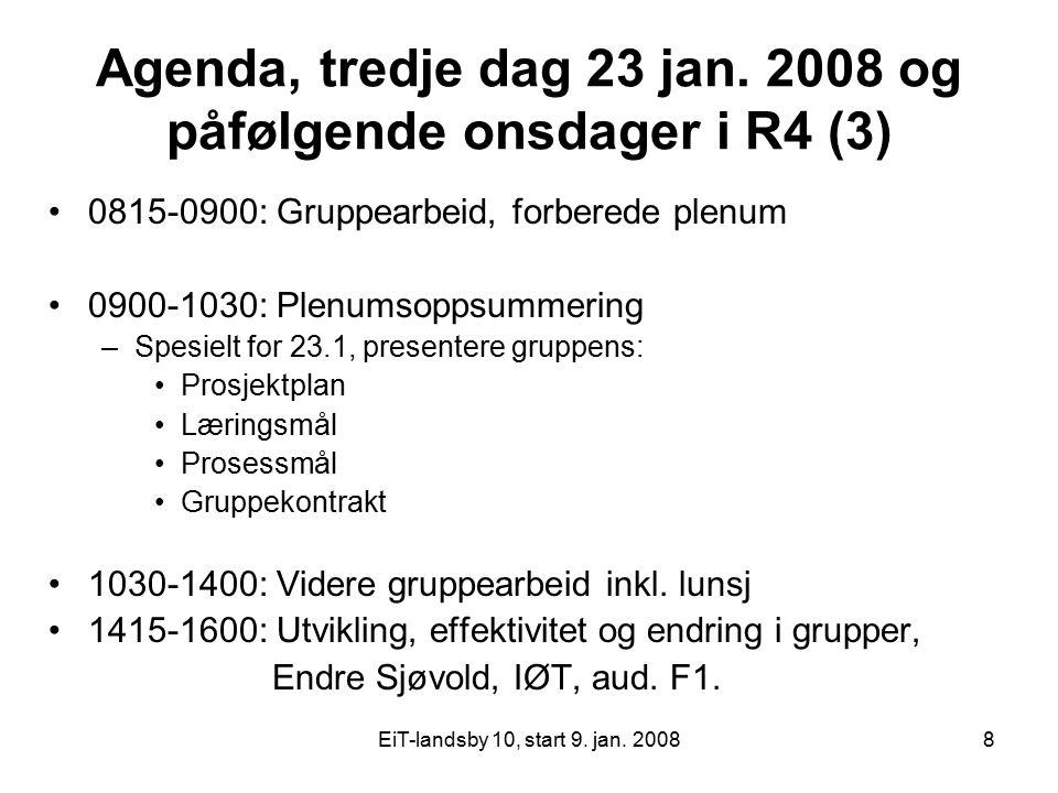 Agenda, tredje dag 23 jan. 2008 og påfølgende onsdager i R4 (3)