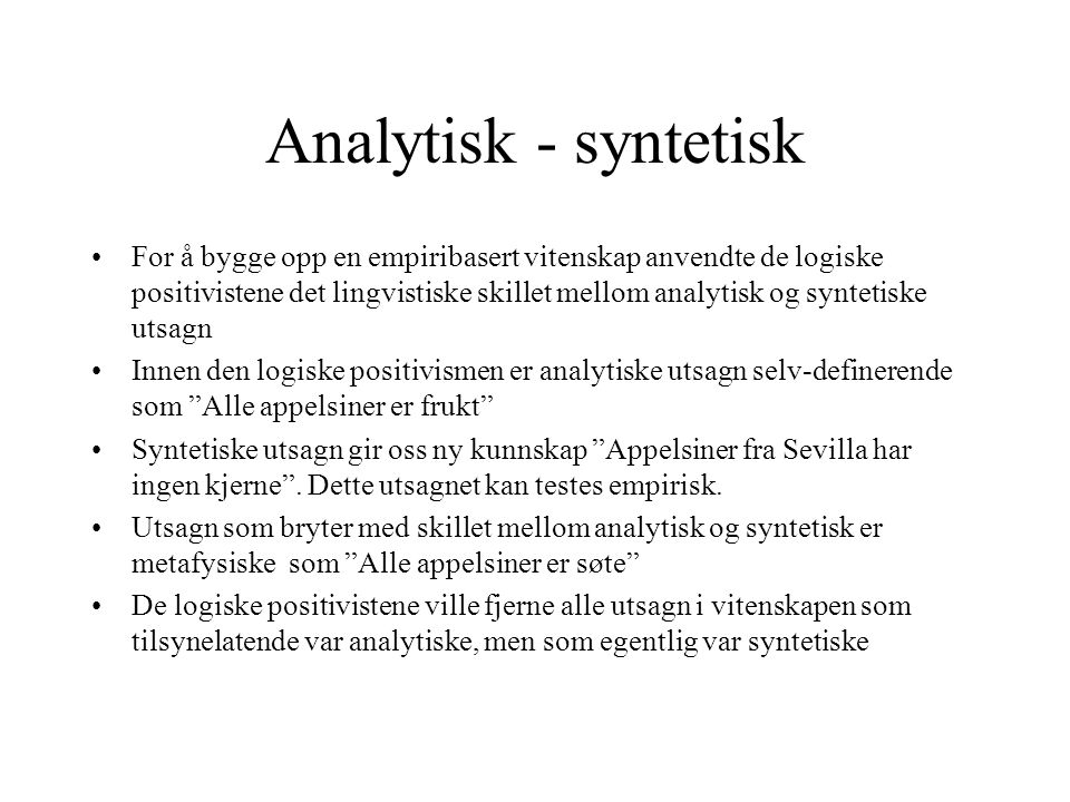 Analytisk - syntetisk