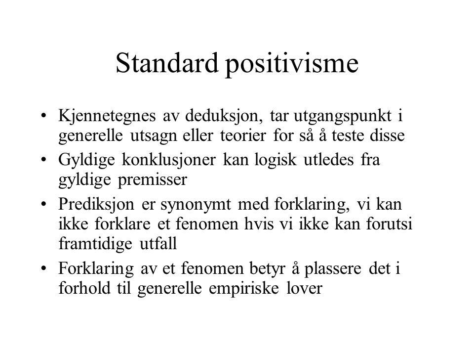 Standard positivisme Kjennetegnes av deduksjon, tar utgangspunkt i generelle utsagn eller teorier for så å teste disse.