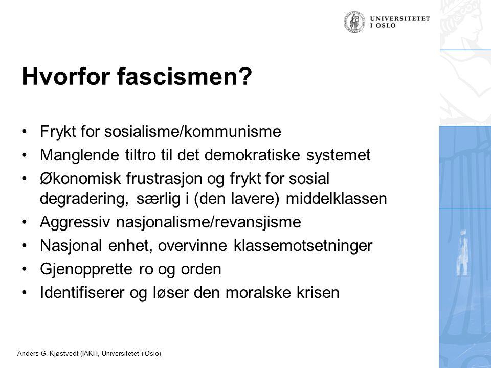 Hvorfor fascismen Frykt for sosialisme/kommunisme