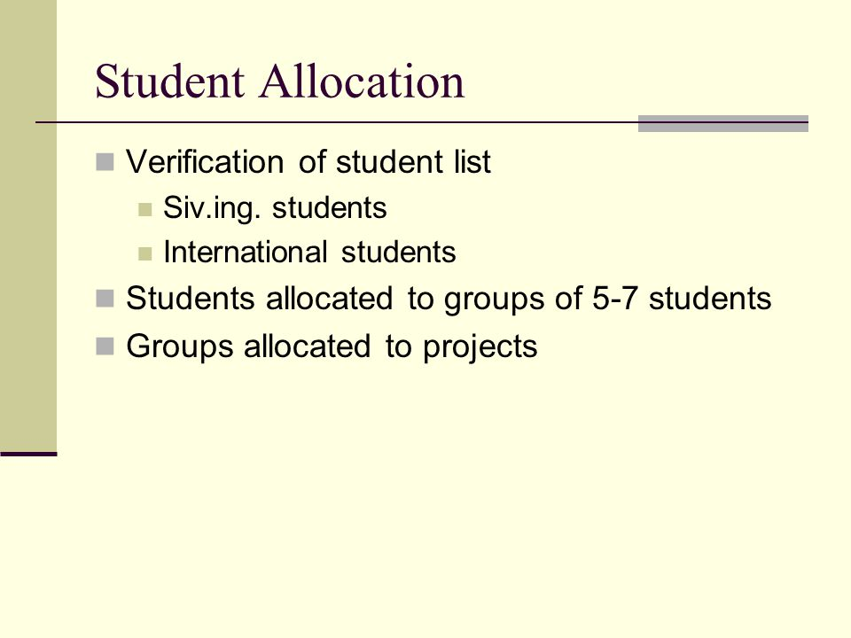 Student Allocation Verification of student list
