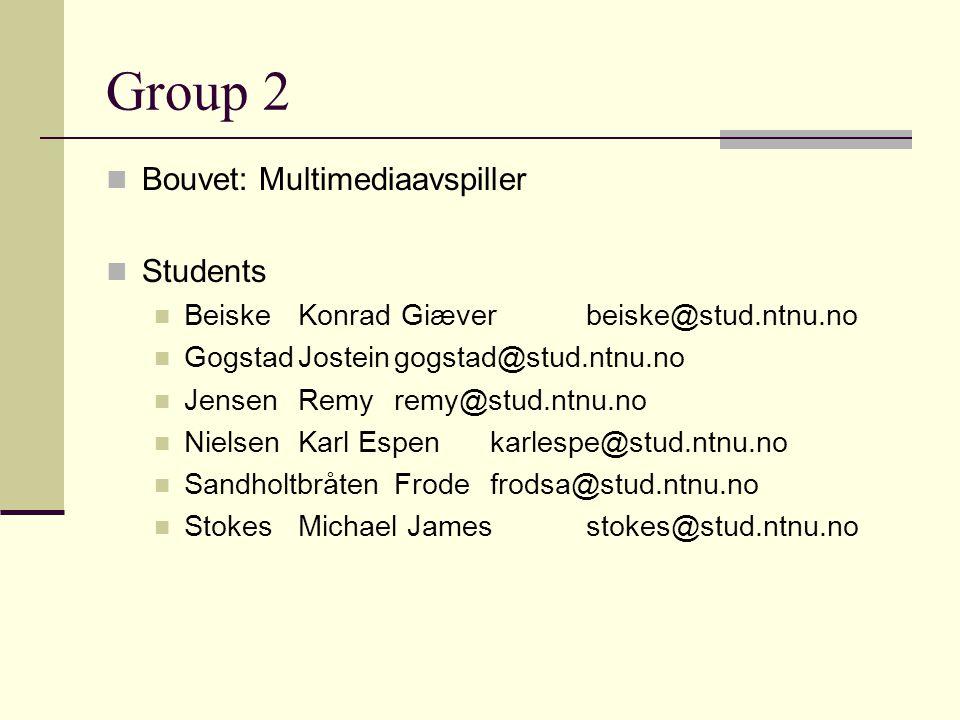 Group 2 Bouvet: Multimediaavspiller Students