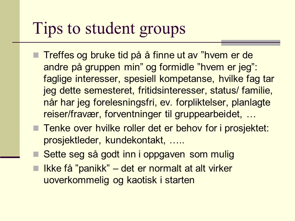 Tips to student groups