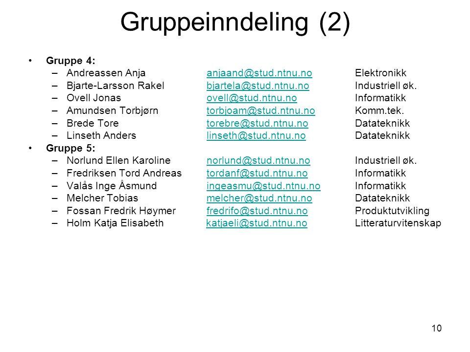 Gruppeinndeling (2) Gruppe 4: