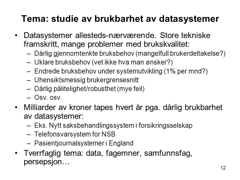 Tema: studie av brukbarhet av datasystemer