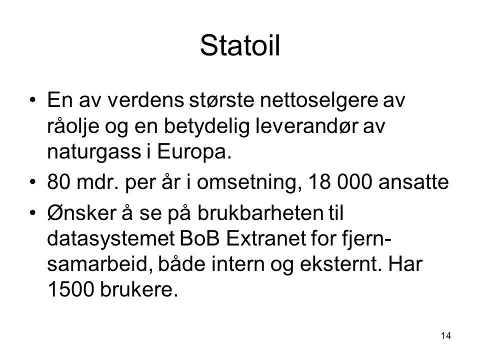 Statoil En av verdens største nettoselgere av råolje og en betydelig leverandør av naturgass i Europa.