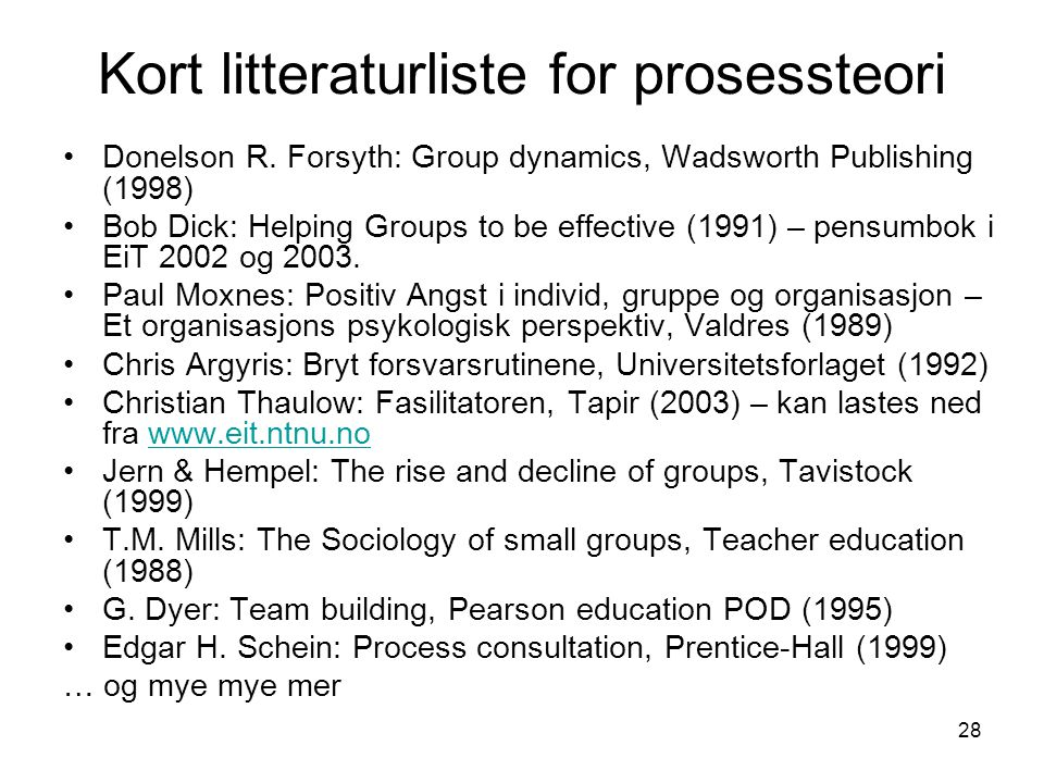 Kort litteraturliste for prosessteori
