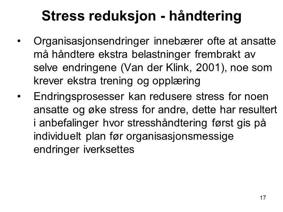 Stress reduksjon - håndtering