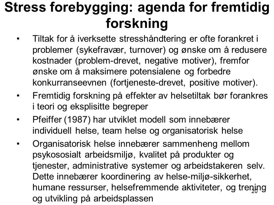 Stress forebygging: agenda for fremtidig forskning