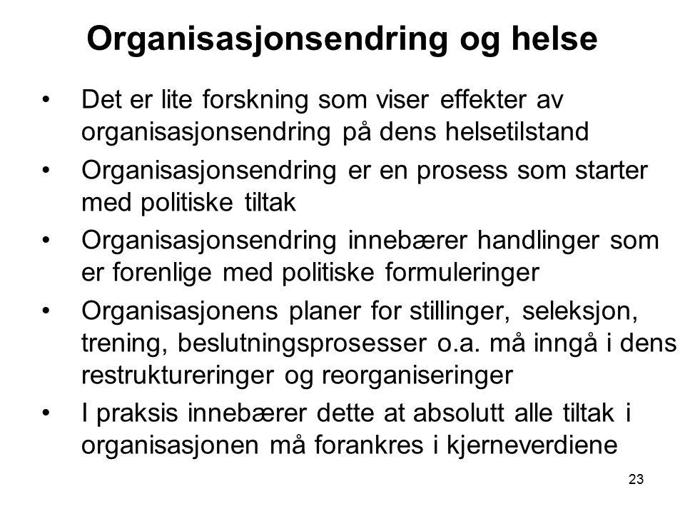 Organisasjonsendring og helse