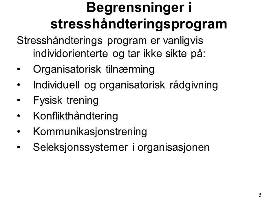 Begrensninger i stresshåndteringsprogram