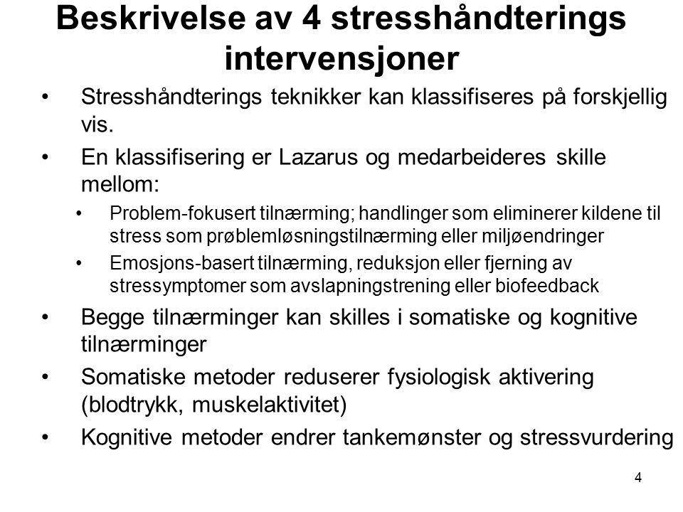 Beskrivelse av 4 stresshåndterings intervensjoner