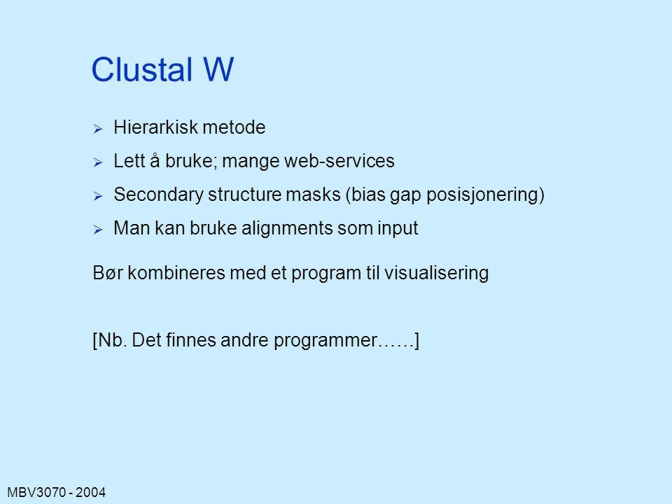 Clustal W Hierarkisk metode Lett å bruke; mange web-services