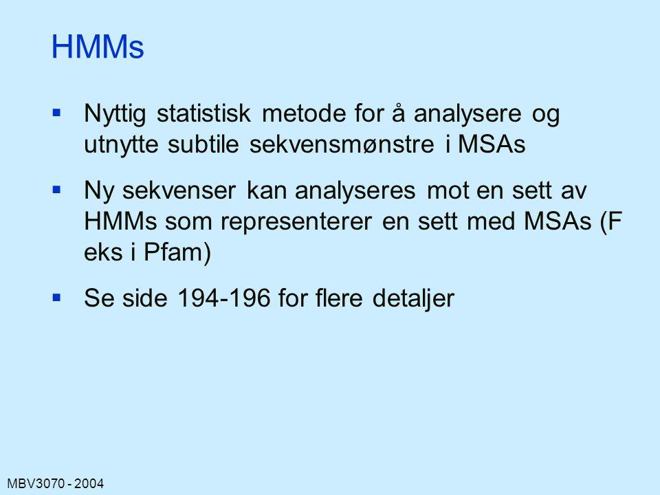 HMMs Nyttig statistisk metode for å analysere og utnytte subtile sekvensmønstre i MSAs.