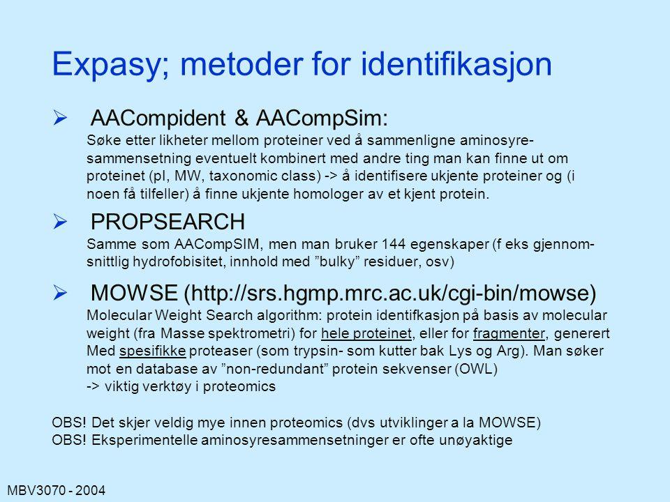 Expasy; metoder for identifikasjon