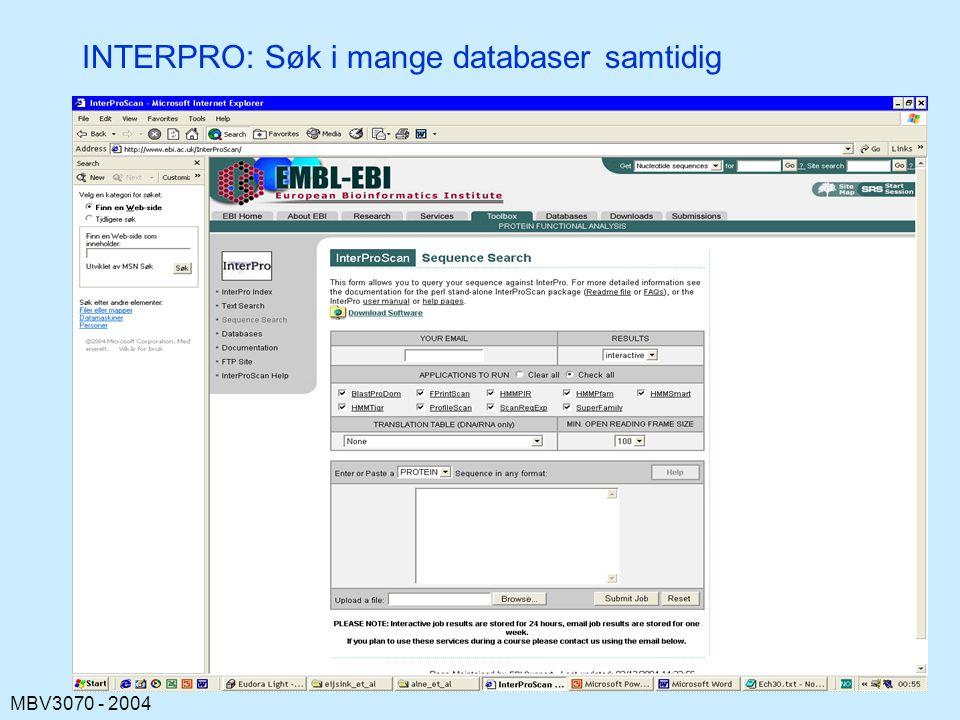 INTERPRO: Søk i mange databaser samtidig
