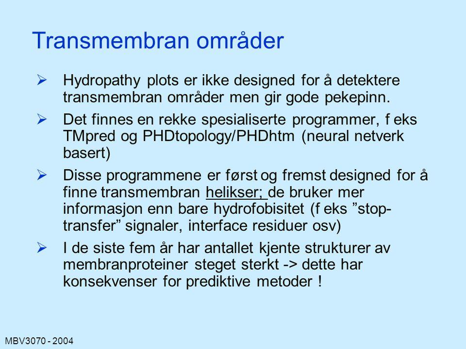 Transmembran områder Hydropathy plots er ikke designed for å detektere transmembran områder men gir gode pekepinn.