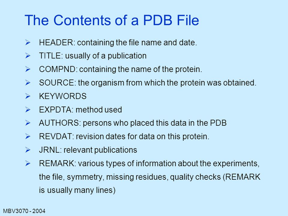 The Contents of a PDB File
