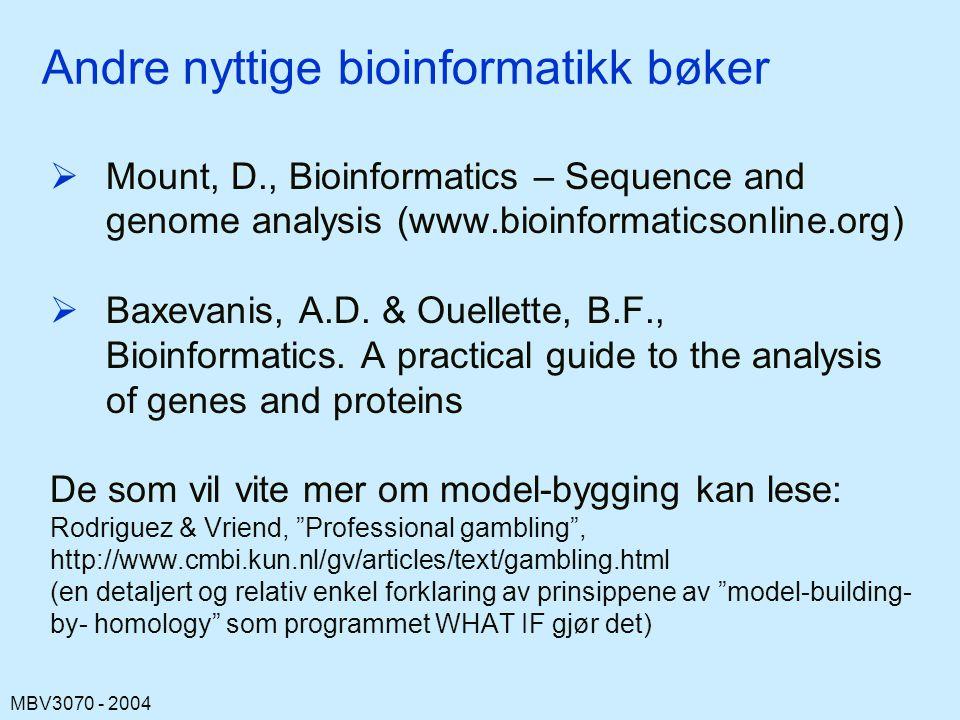 Andre nyttige bioinformatikk bøker