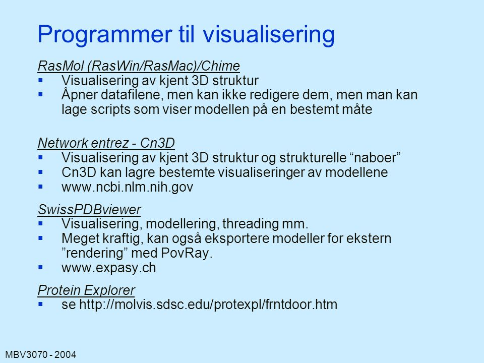 Programmer til visualisering