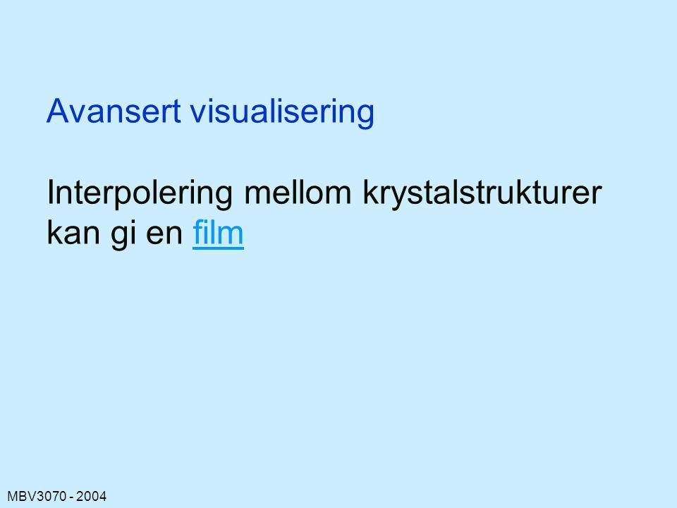 Avansert visualisering Interpolering mellom krystalstrukturer kan gi en film
