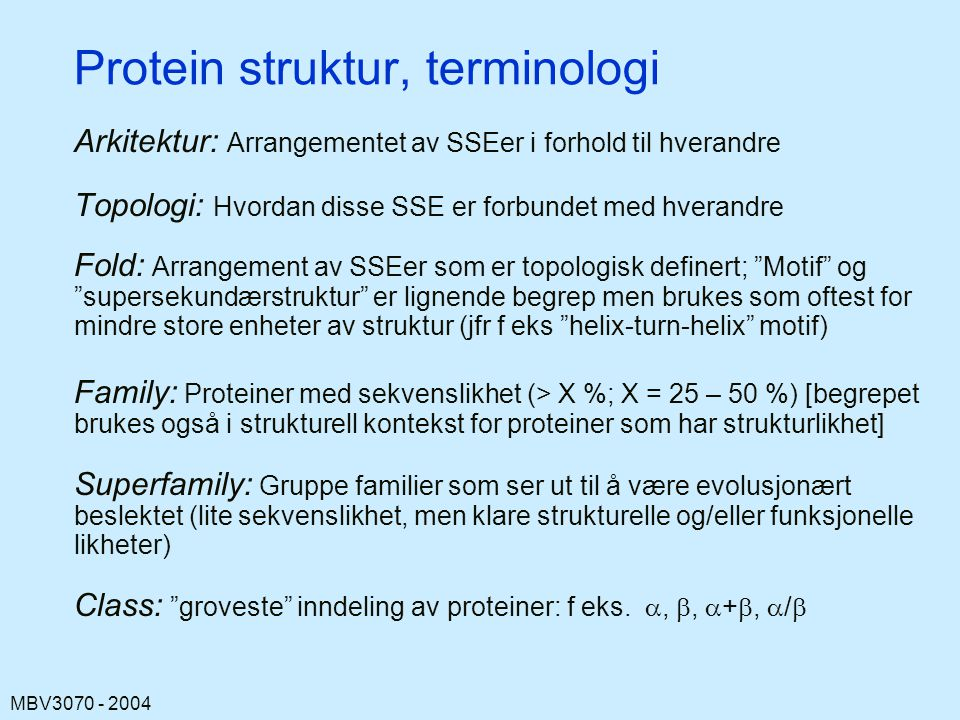 Protein struktur, terminologi