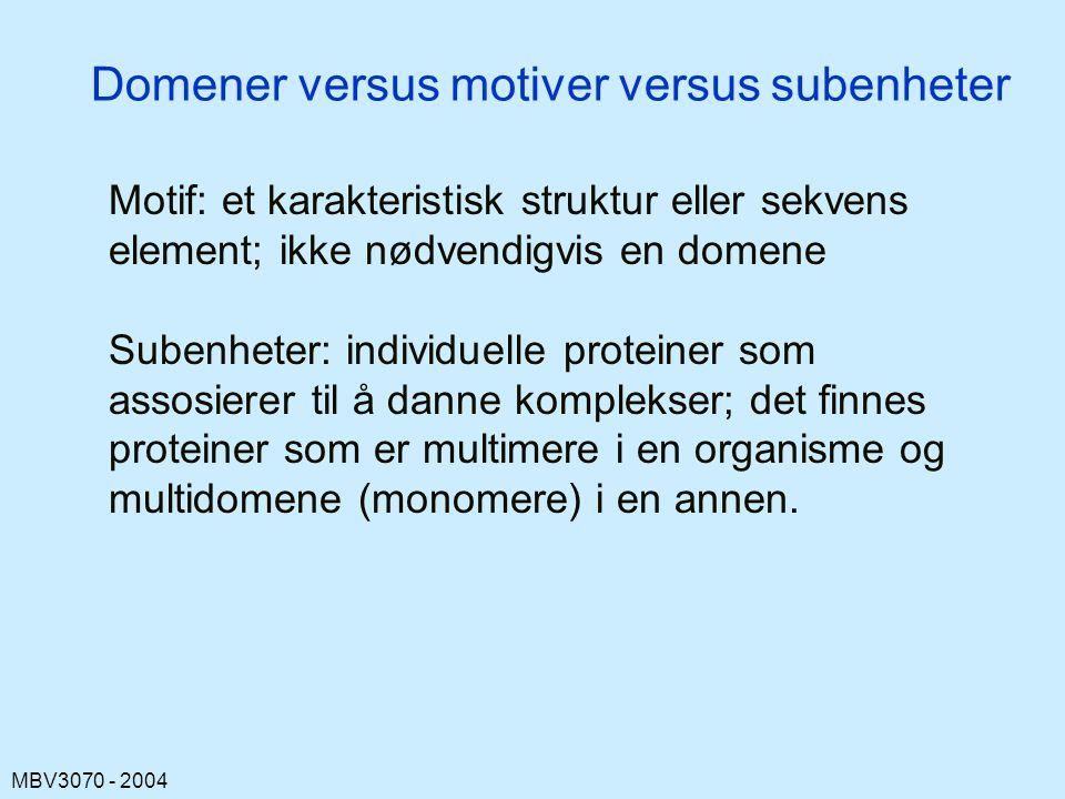 Domener versus motiver versus subenheter