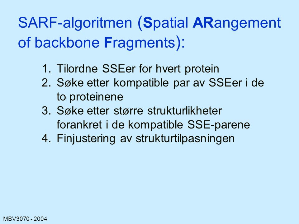 SARF-algoritmen (Spatial ARangement of backbone Fragments):
