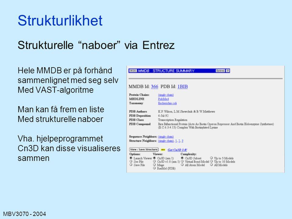 Strukturlikhet Strukturelle naboer via Entrez