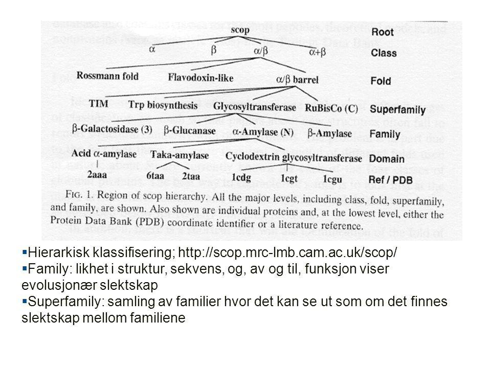 Hierarkisk klassifisering; http://scop.mrc-lmb.cam.ac.uk/scop/