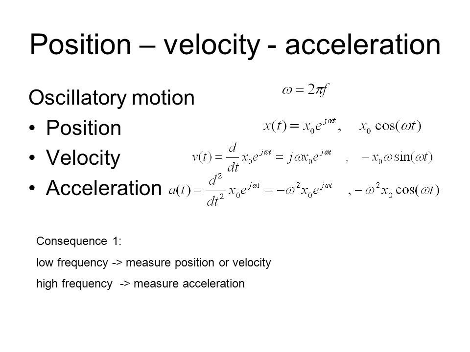 Position – velocity - acceleration