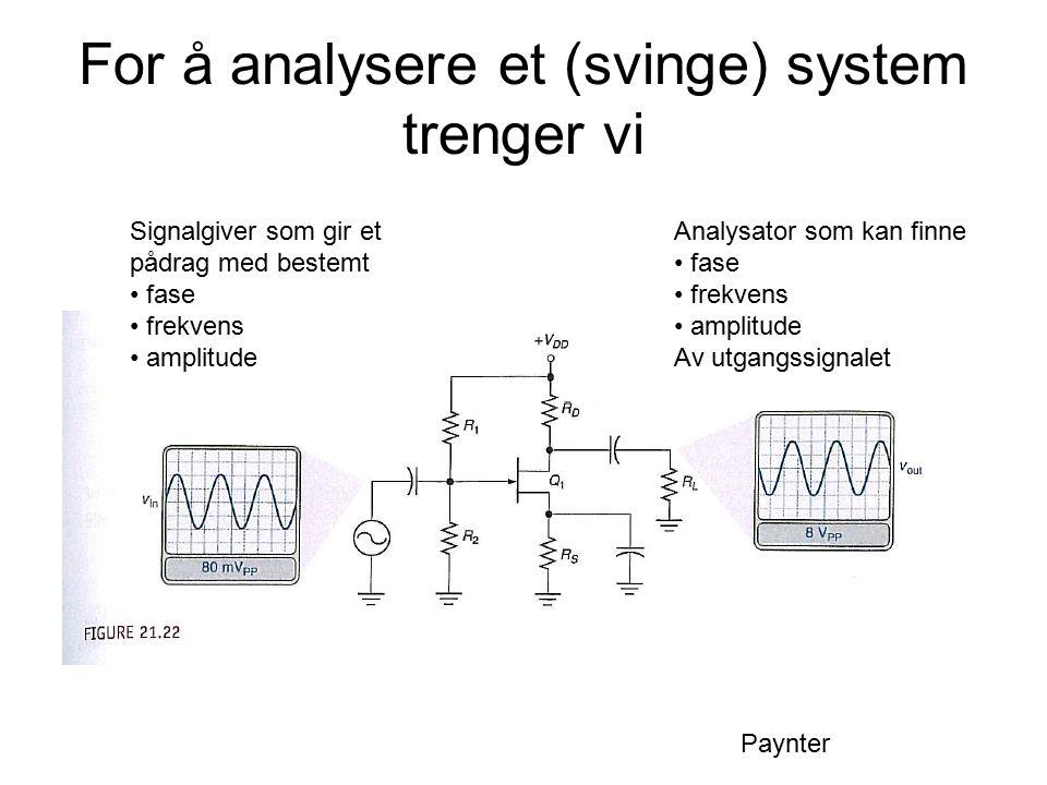 For å analysere et (svinge) system trenger vi