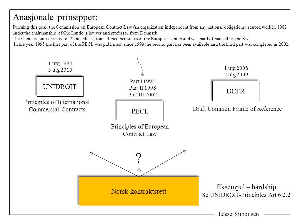 Anasjonale prinsipper: UNIDROIT DCFR PECL Norsk kontraktsrett