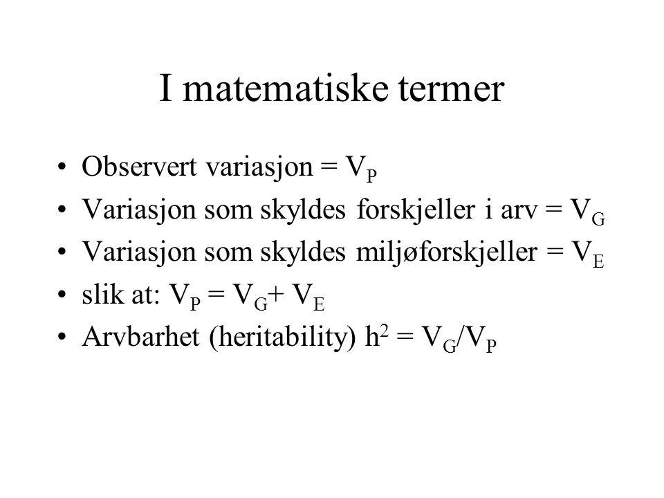 I matematiske termer Observert variasjon = VP