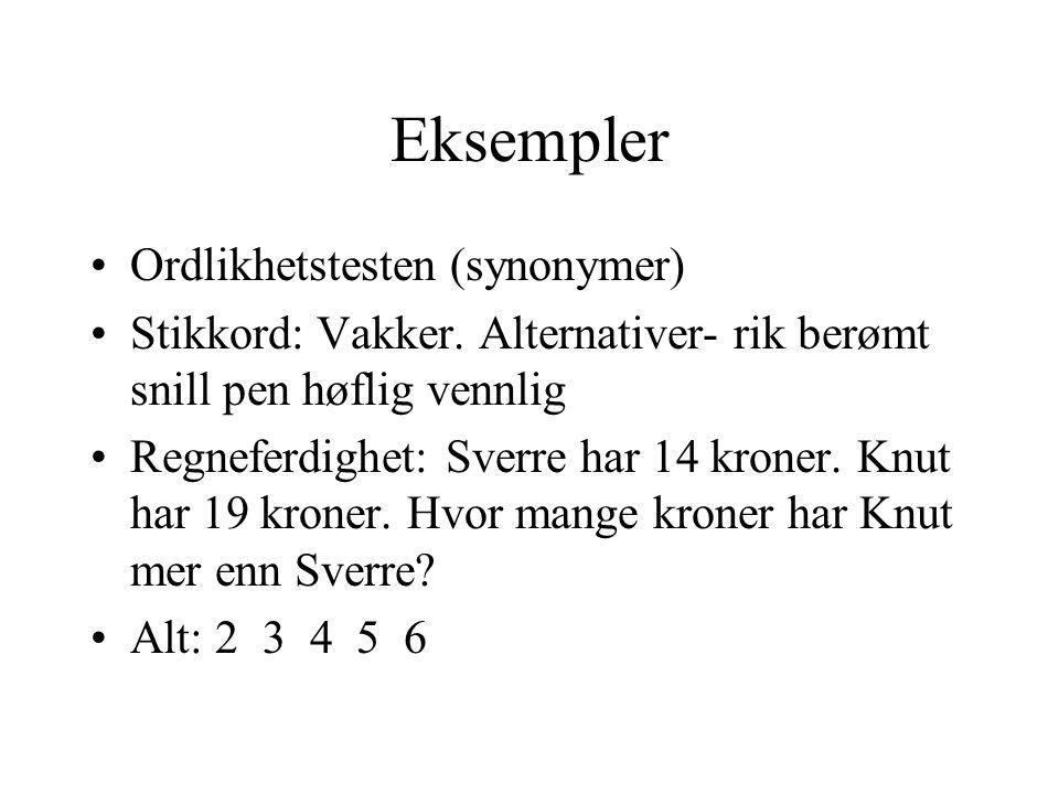 Eksempler Ordlikhetstesten (synonymer)