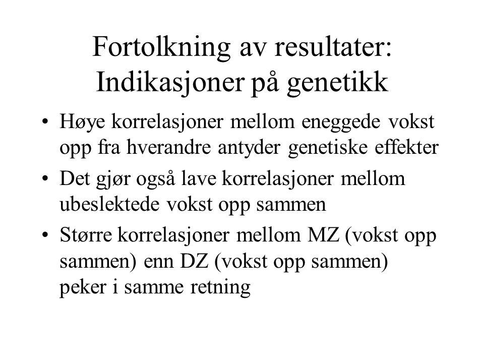 Fortolkning av resultater: Indikasjoner på genetikk