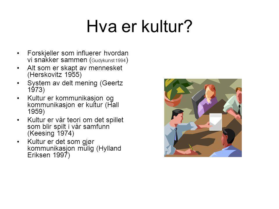 Hva er kultur Forskjeller som influerer hvordan vi snakker sammen (Gudykunst 1994) Alt som er skapt av mennesket (Herskovitz 1955)