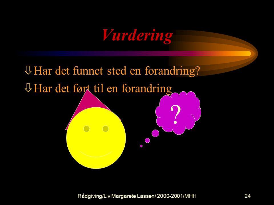 Rådgiving/Liv Margarete Lassen/ 2000-2001/MHH
