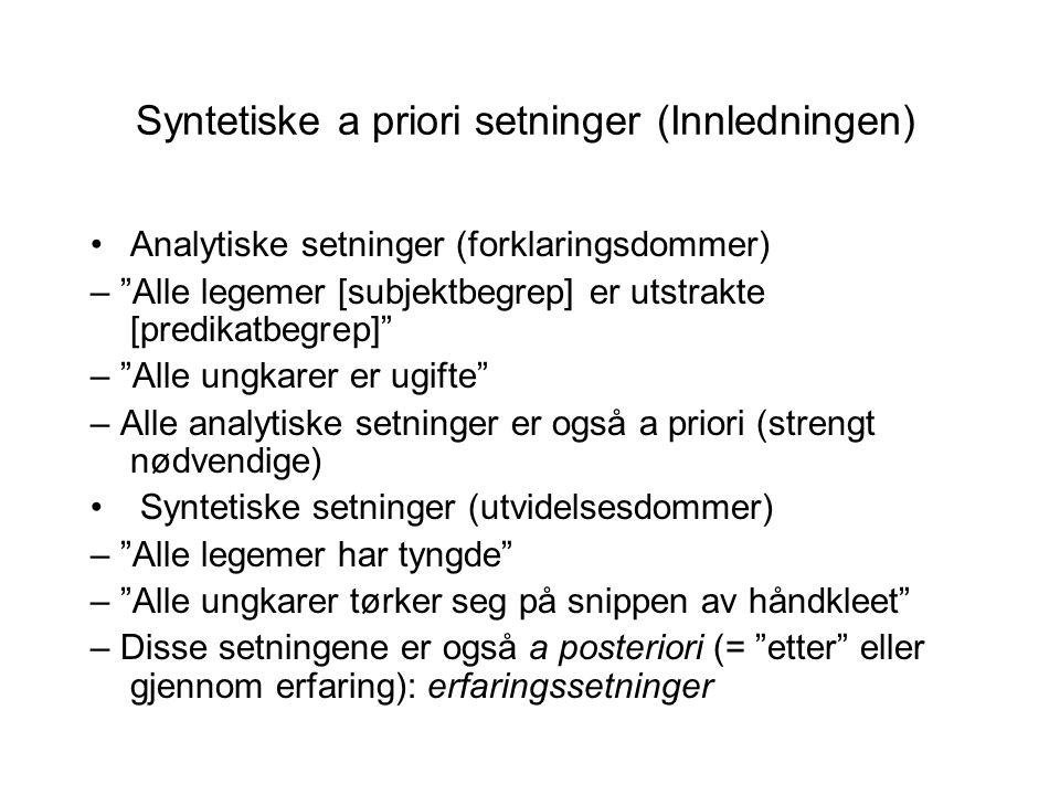 Syntetiske a priori setninger (Innledningen)