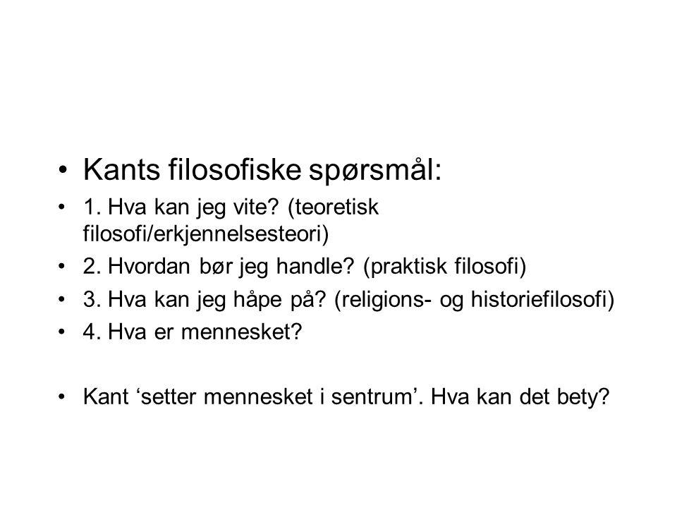Kants filosofiske spørsmål: