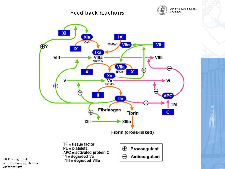 Feed-back reactions Ulf E. Kongsgaard Avd. Forskning og utvikling