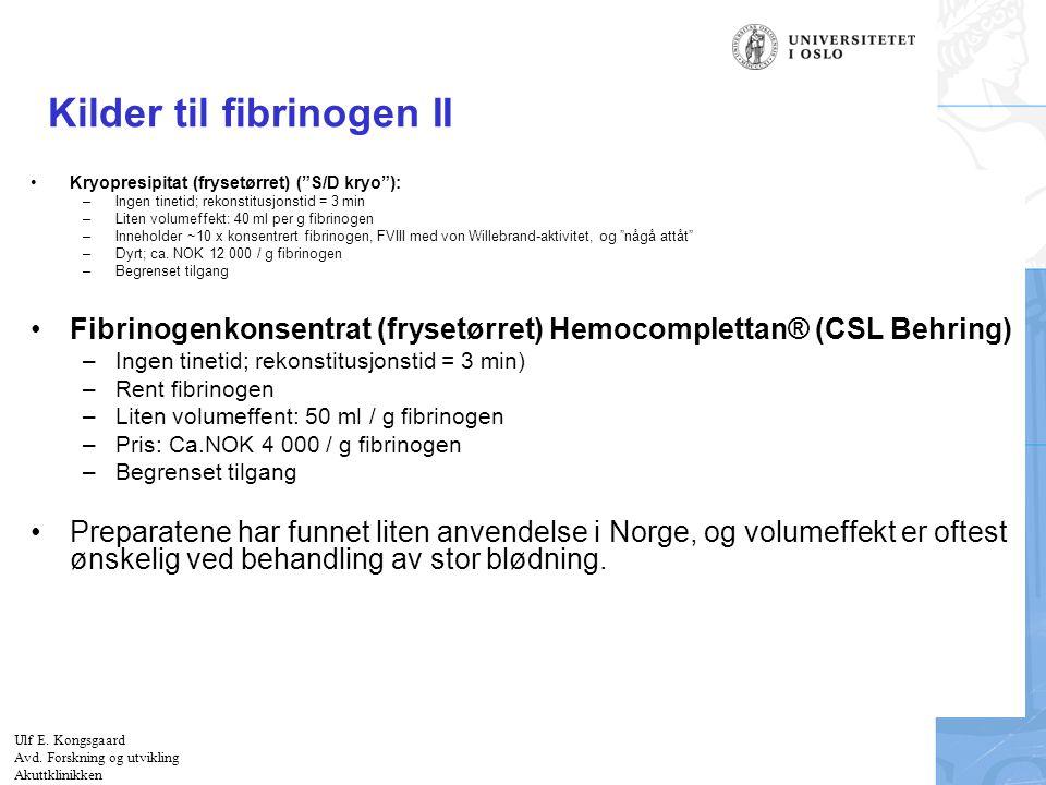 Kilder til fibrinogen II