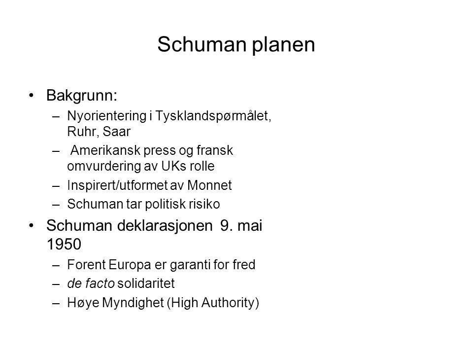 Schuman planen Bakgrunn: Schuman deklarasjonen 9. mai 1950