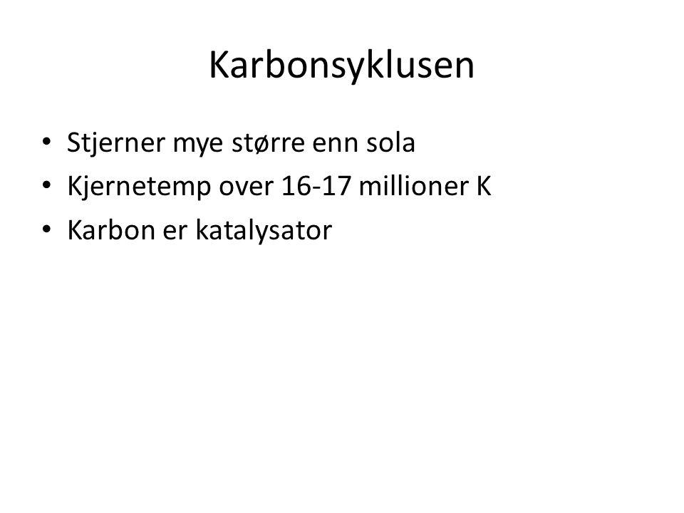Karbonsyklusen Stjerner mye større enn sola