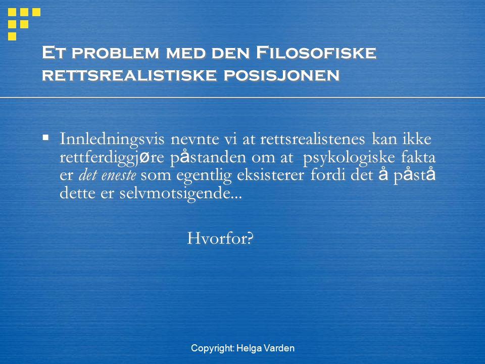 Et problem med den Filosofiske rettsrealistiske posisjonen