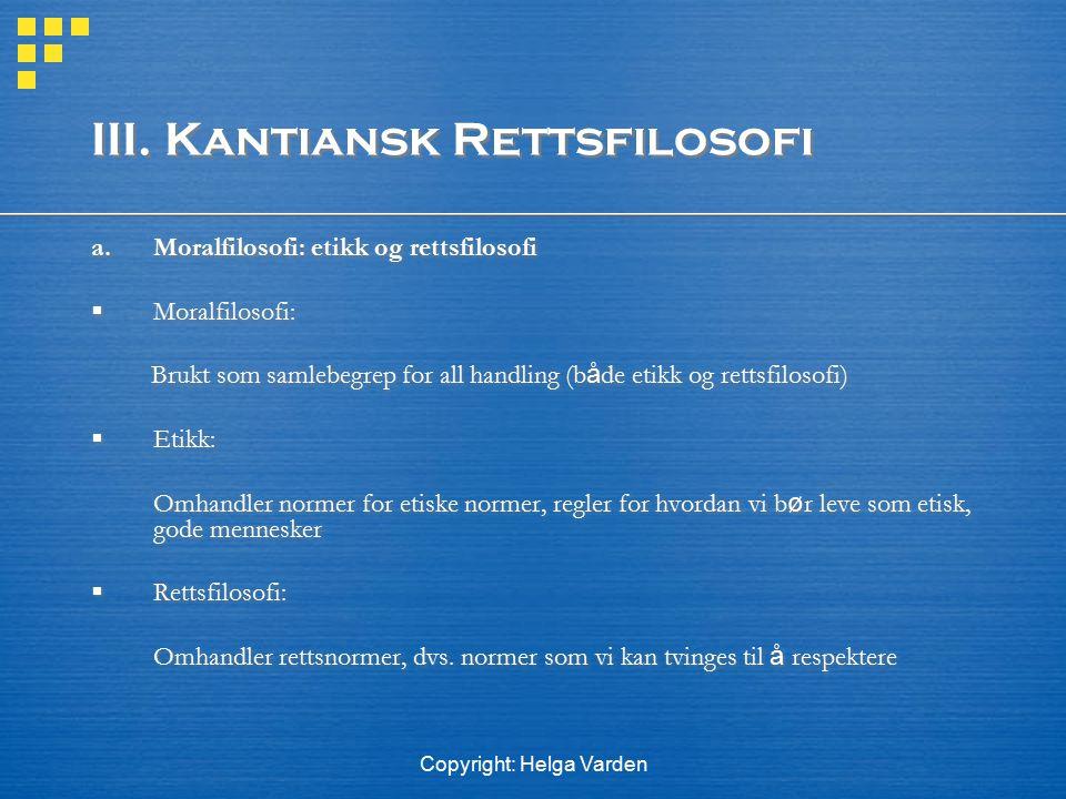 III. Kantiansk Rettsfilosofi