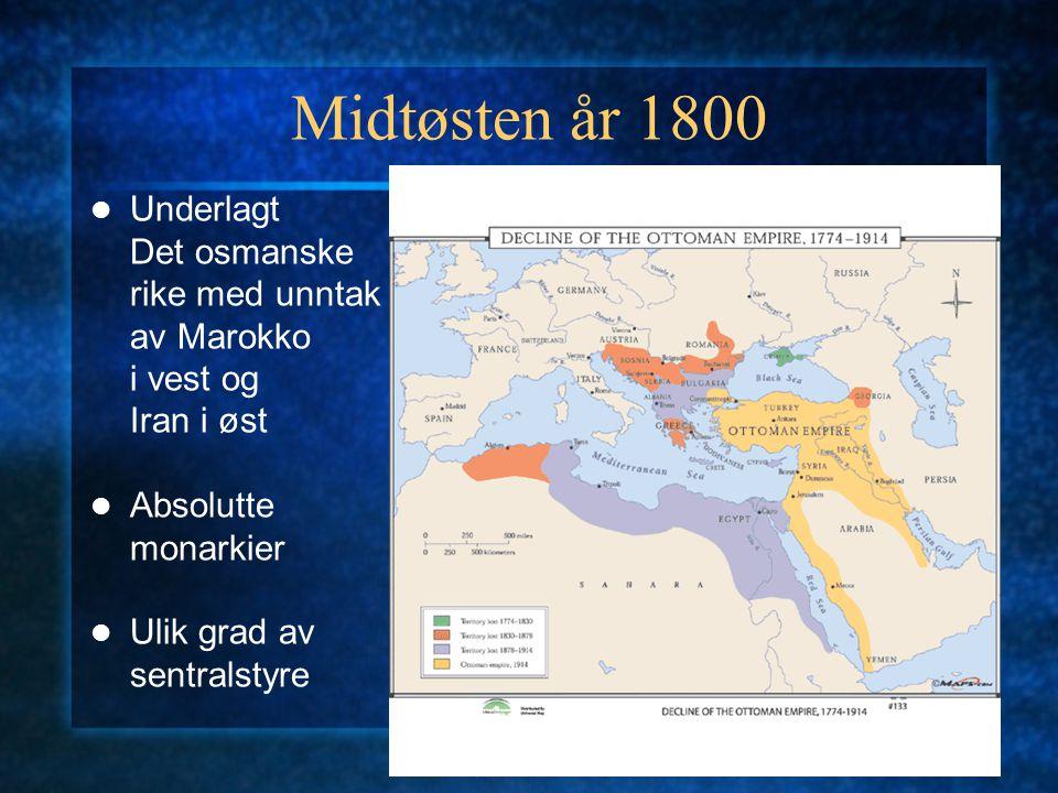 Midtøsten år 1800 Underlagt Det osmanske rike med unntak av Marokko