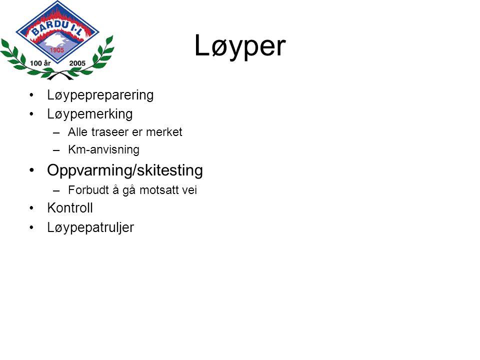 Løyper Oppvarming/skitesting Løypepreparering Løypemerking Kontroll