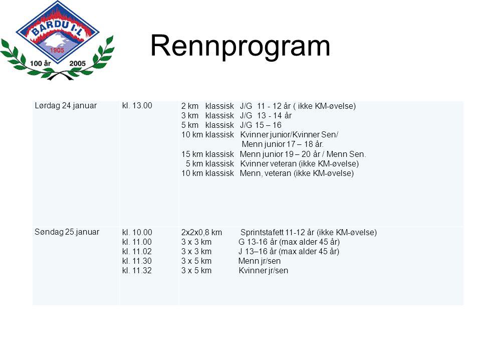 Rennprogram Lørdag 24.januar kl. 13.00