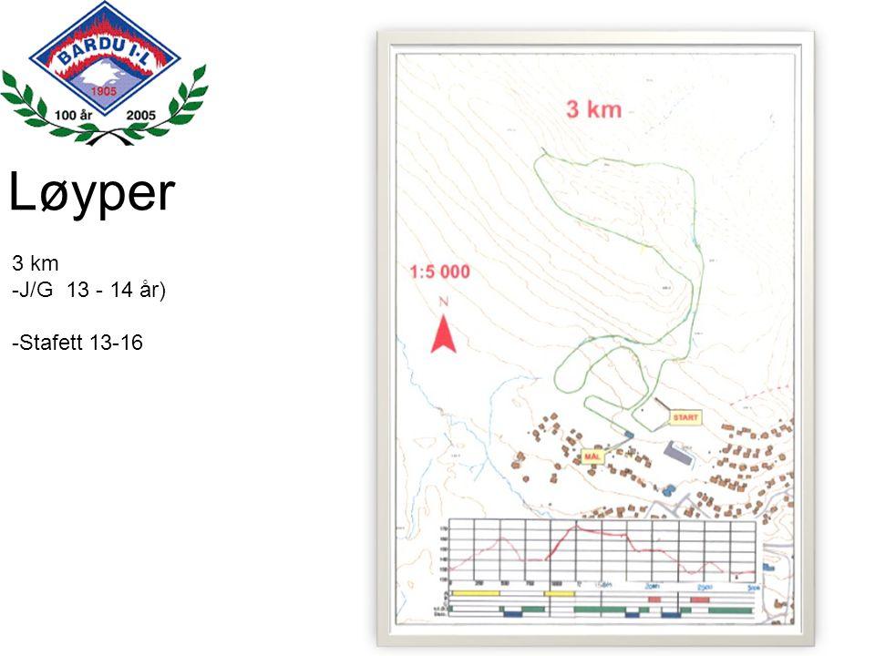 Løyper 3 km J/G 13 - 14 år) Stafett 13-16